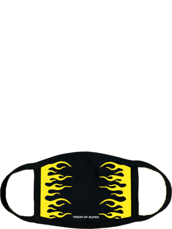 Vision of Super Black And Yellow Flames Face Mask