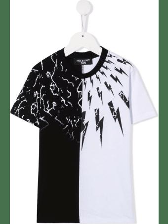 Neil Barrett Kids Black And White T-shirt With Fairisle Thunderbolt Motif