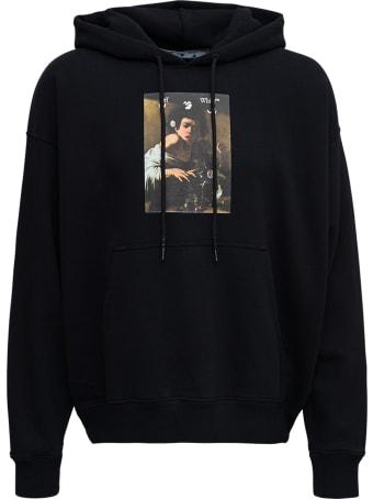 Off-White Black Cotton Hoodie With Caravaggio Print