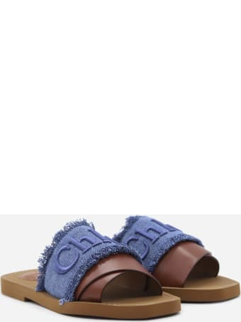 Chloé Woody Sandals Made Of Denim And Leather