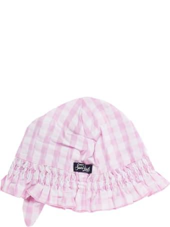 MC2 Saint Barth Girls Enfant Bonnet Pink Vichy Print