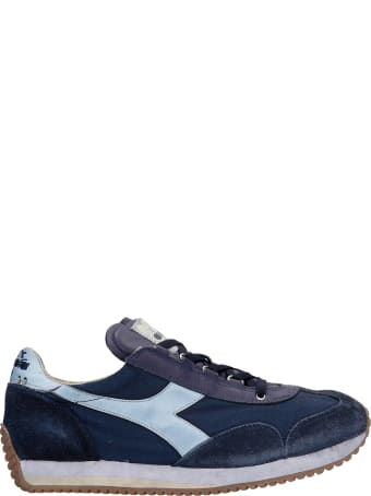 Diadora Equipe H Sneakers In Blue Suede And Fabric Diadora