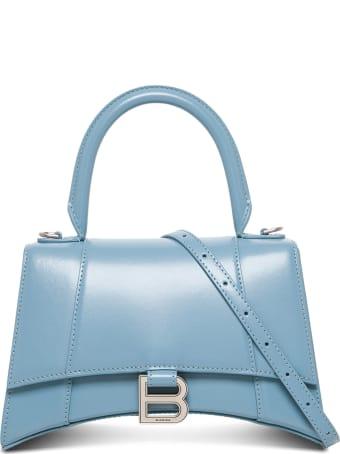 Balenciaga Hourglass Handbag In Light Blue Leather