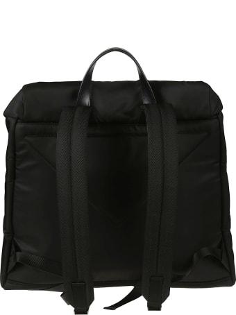 Prada Logo Plaque Flap Backpack