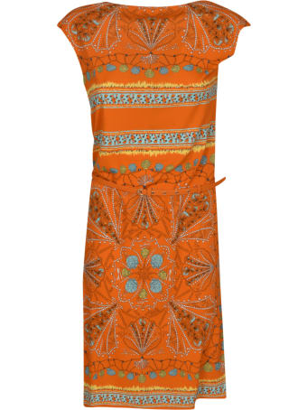 Emilio Pucci Capped Sleeve Printed Dress