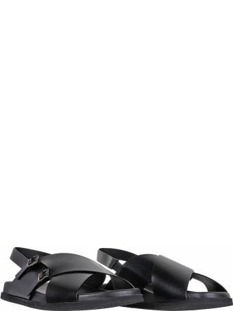 Santoni Flat Sandals In Black Leather