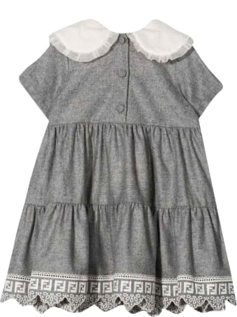 Fendi Gray Dress With Flounces Brunello Cucinelli Kids