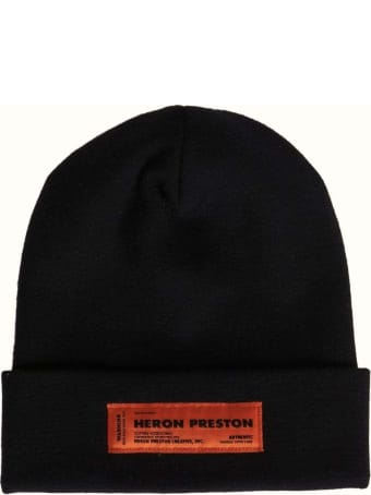HERON PRESTON Beanie In Black Knit With Logo Patch And Turn-up Brim