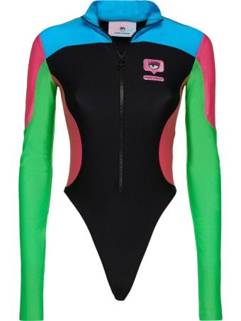 Chiara Ferragni Multicolor Lycra Bodysuit With Eyelike Glossy Print