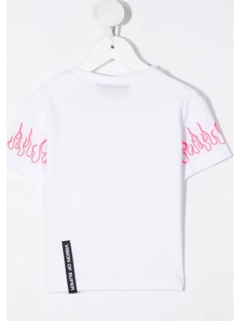 Vision of Super Unisex Kid White T-shirt With Embroidered Pink Flames