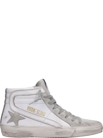 Golden Goose Slide Sneakers In White Suede And Leather