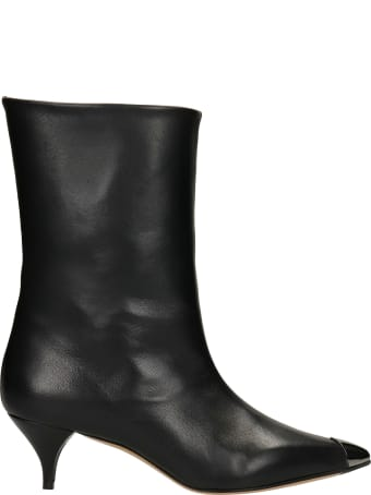 Alchimia Low Heels Ankle Boots In Black Leather