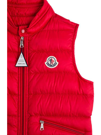 Moncler Red Gui Vest With Logo Patch