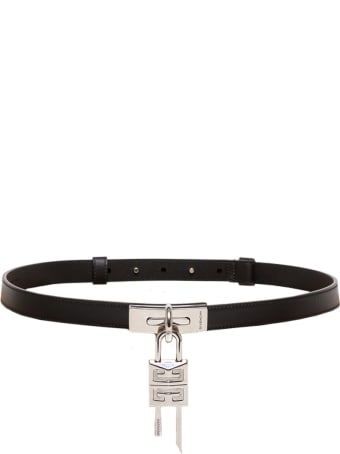 Givenchy Turnlock Leather Belt In Black Leather