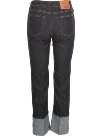Love Moschino Straight Jeans W/lapel And Written