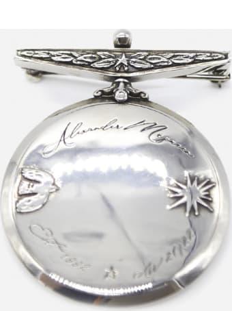 Alexander McQueen Brass Brooch With Logo Engraving