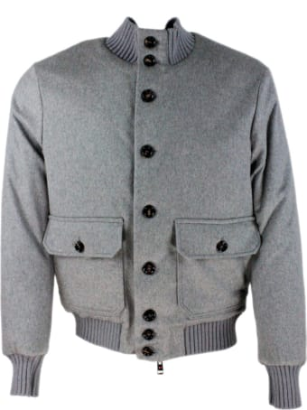 Kired Cashmere Bomber Jacket Padded In Real Goose Down With Collar, Cuffs And Details In English Rib Knit And Zip And Button Closure