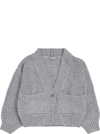 Il Gufo Grey Wool Blend Cardigan With V-neck