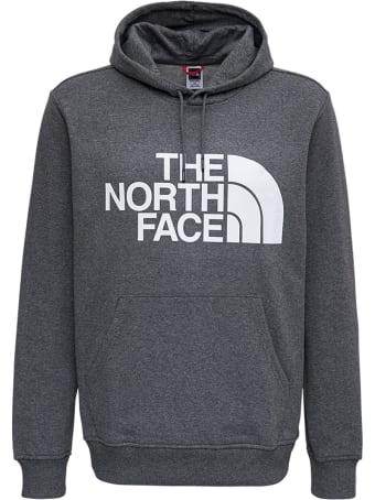 The North Face Grey Cotton Hoodie With Logo Print