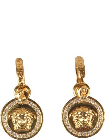 Versace Crystal Embellished Medusa Head Round Earrings