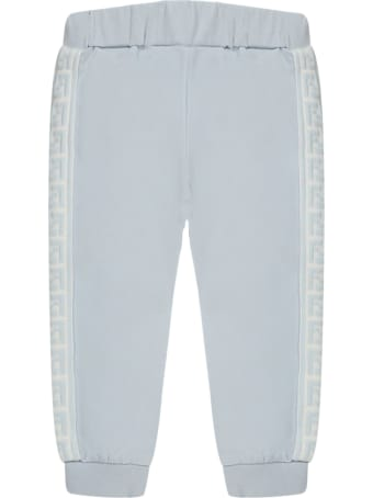 Fendi Light Blue Stretch Cotton Sweatpants