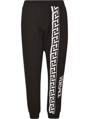 Versace Logo Print Ribbed Track Pants