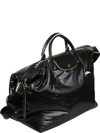 Longchamp Logo Patch Shiny Leather Top Handle Tote