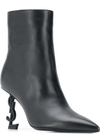 Saint Laurent Opyum Ankle Boots In Black Leather
