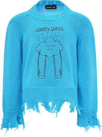 """Riccardo Comi Light Blue """"happy Day"""" Sweater For Kids"""