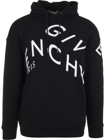 Givenchy Man Black Hoodie With White Givenchy Refracted Embroidery