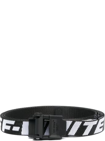 Off-White Industrial Belt In Black And White Nylon