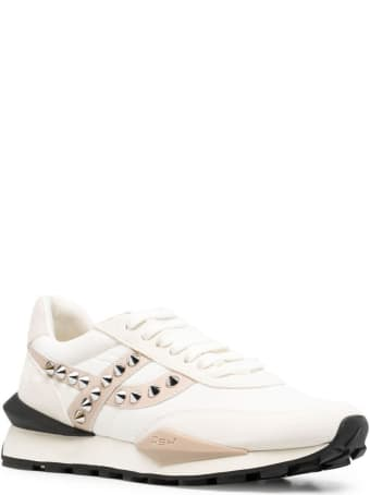 Ash Leather And Fabric Sneakers With Studs Detail