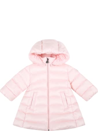 """Moncler Pink """"majeure"""" Jacket For Baby Girl With Logo Patch"""
