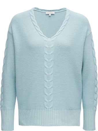 Antonelli Light Blue Wool Blend Sweater With Braided Front Detail