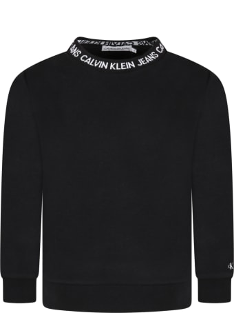 Calvin Klein Black Sweatshirt For Kids With White Logo