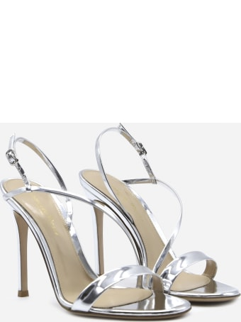 Gianvito Rossi Manhattan Silver Leather Sandal