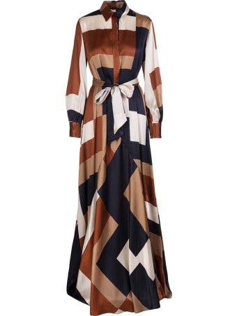 Kiton Long Shirt Dress In Multicolored Silk With Belt
