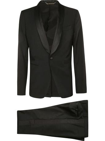 Les Hommes Ottoman & Satin Detailed Lapel Party Suit
