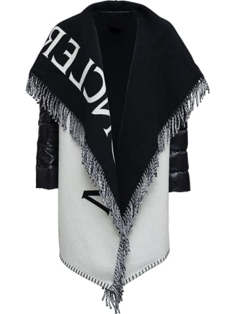 Moncler Wool And Nylon Cape With Logo Print And Fringes