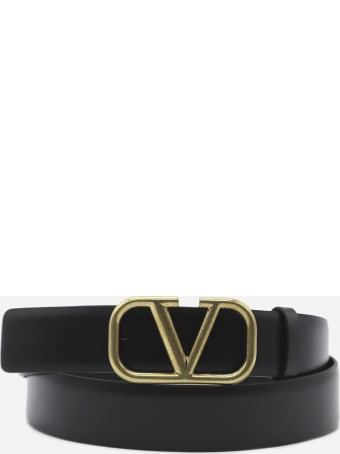 Valentino Garavani Vlogo Signature Leather Belt