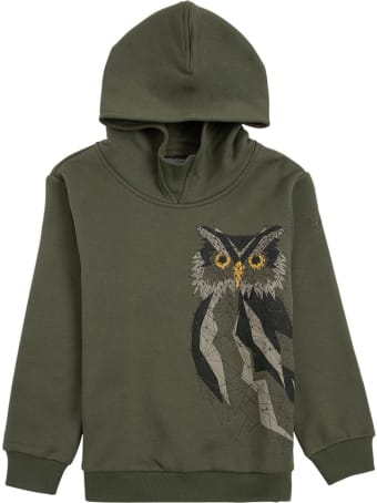 Il Gufo Green Organic Cotton Hoodie With Owl Print