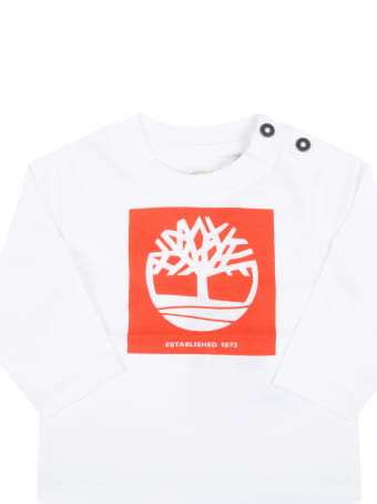 Timberland White T-shirt For Baby Boy With Tree