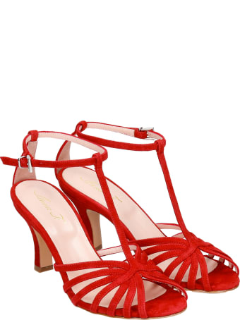 Anna F. Sandals In Red Suede