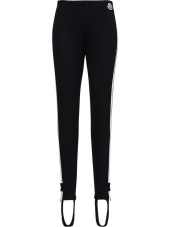 Moncler Black Stretch Fabric Leggings With Logo Patch