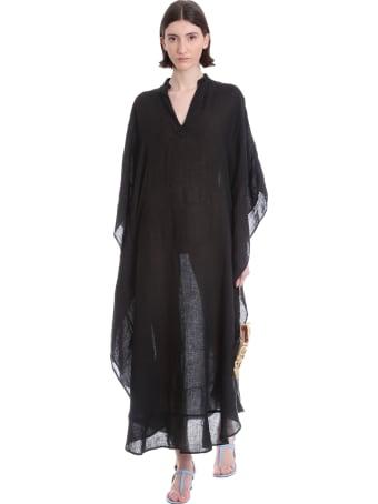 120% Lino Dress In Black Linen