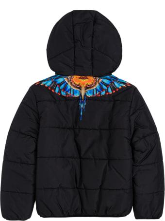 Marcelo Burlon Black Cotton Grizzly Wings Nylon Down Jacket