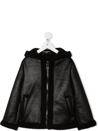 Neil Barrett Kids Black Eco-leather Jacket With Eco-shearling Lining
