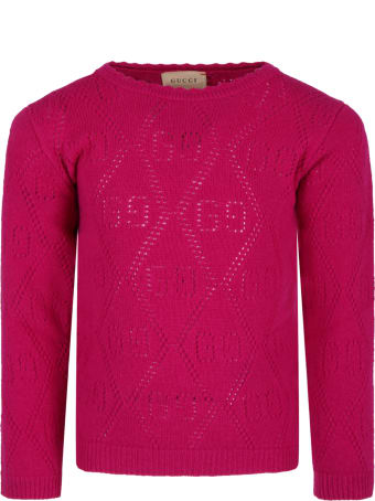 Gucci Fuchsia Sweater For Girl With Double Gg