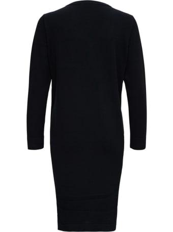 Fabiana Filippi Black Silk And Cashmere Dress With Bright Detail