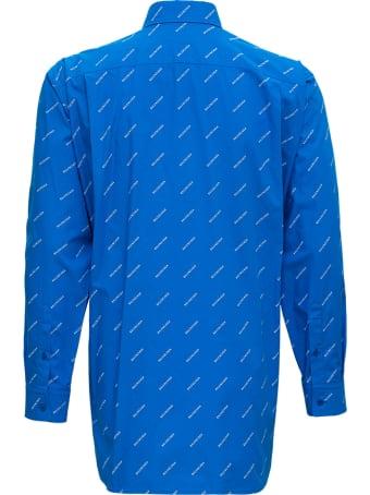 Balenciaga Light Blue Cotton Shirt With Allover Logo